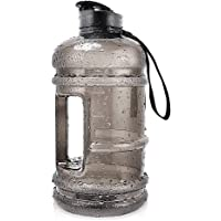 2.2L Plastic Water Bottle Large Capacity with Carrying Loop BPA Free Leakproof Jug Container Resin Fitness for Camping Training Bicycle Gym Outdoor Sports -Bottle Transparent (Black) (Black)