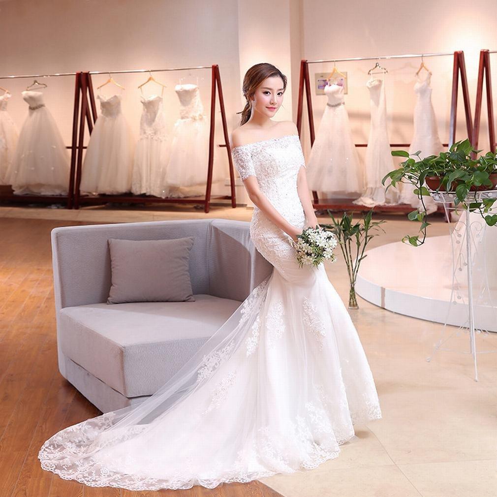 G'z GZ Wedding Braut, die Kleine Hülse des Wortfischschwanz-Hochzeitskleides Dünnes Einfaches Kleid Abnimmt,EIN,XL