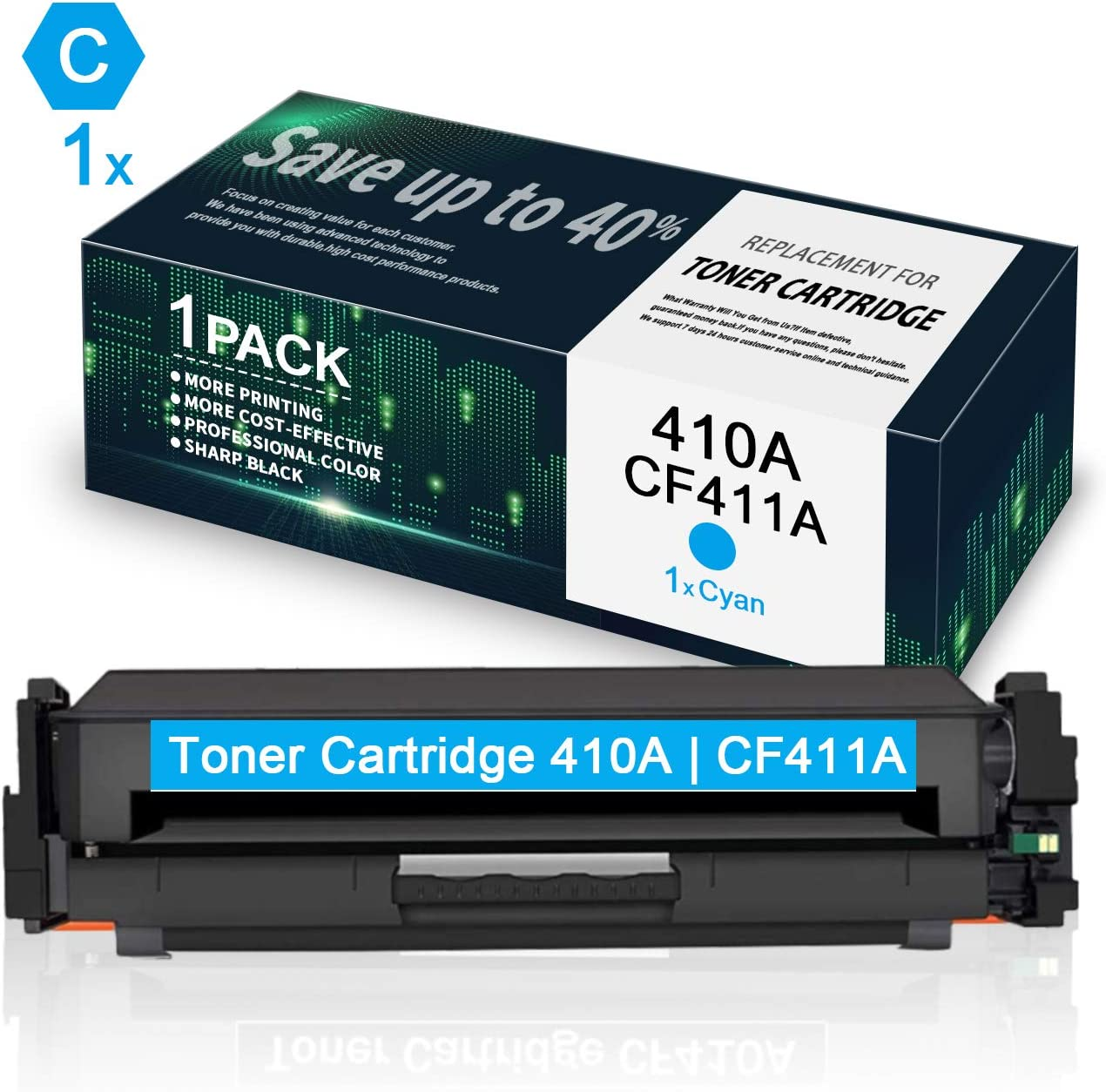 CF411A Cyan Toner Cartridge Replacement for HP 410A CF411A Toner for Use in HP Color Laserjet Pro MFP M477fdn M477fdw M477fnw M452dn M452dw M452nw Laser Printer 4 Pack 410A