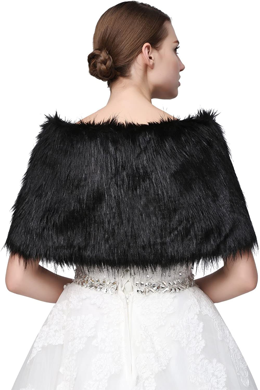 Sarahbridal Damen Kunstpelz Wrap Cape Hochzeit Stola-Schal Bolero f/ür Brautkleid Warm Winter Umhang S17012