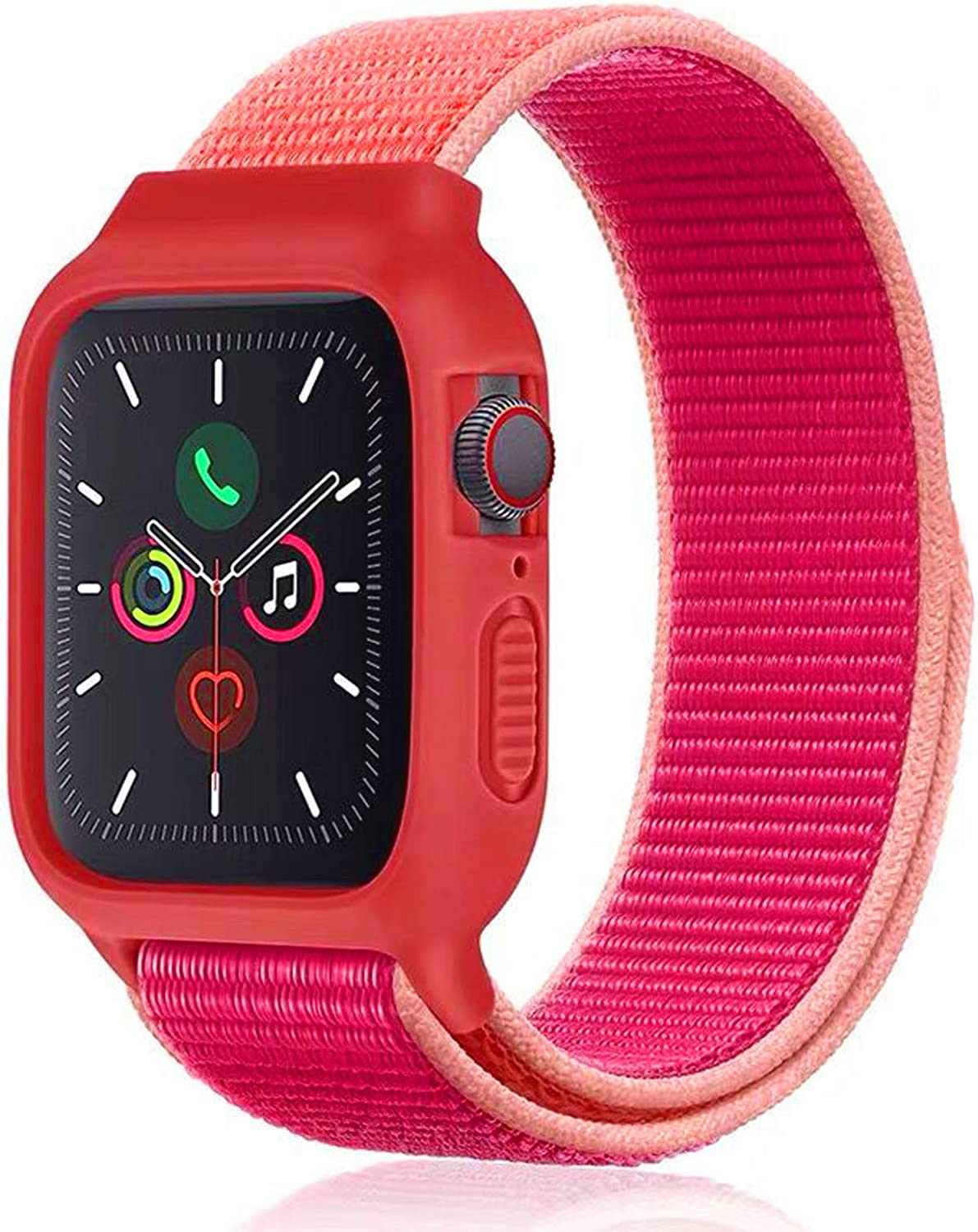 Nylon Sport Band with Case Compatible with Apple Watch Band 44mm 42mm 40mm 38mm, Protective Silicone Bumper Case with Nylon Sport Loop Strap for Series 6/5/4/3/SE for Kids Women Men, Pomegranate Red