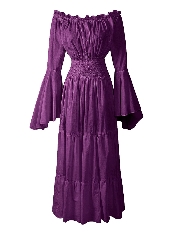 Renaissance Off-Shoulder Trumpet Sleeve Purple Underdress - DeluxeAdultCostumes.com
