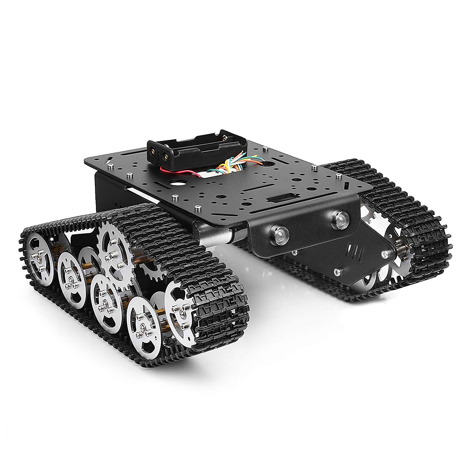 SZDoit Robot Tank Car Chassis Metal Stainless Platform with Speed Encoder Motor 9V Tracked Crawler for Arduino Raspberry Pi DIY