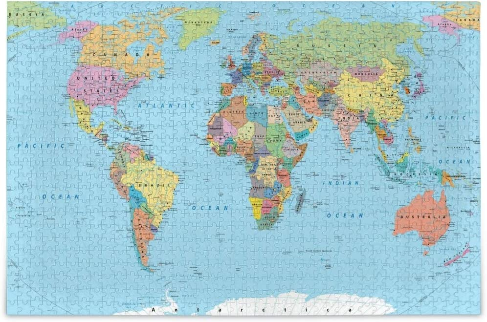 Jigsaw Puzzles 500 Piece World Map Toy Games Educational Gift Home Decor for Adults Kids 2040021