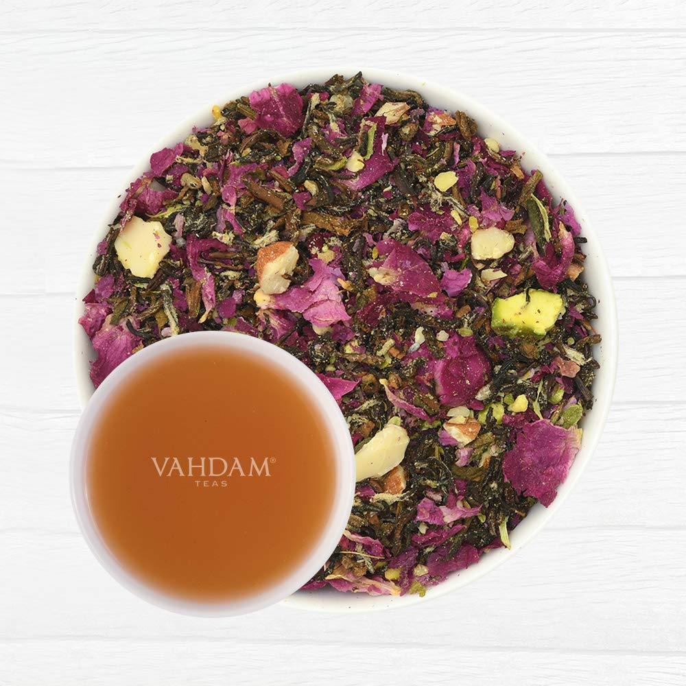 Rose Petals, Almond, Cardamom, Pistachio | DELICIOUS & AROMATIC Black Tea Loose Leaf | Brew as Hot or Iced Tea | 3.53oz (Set of 2)