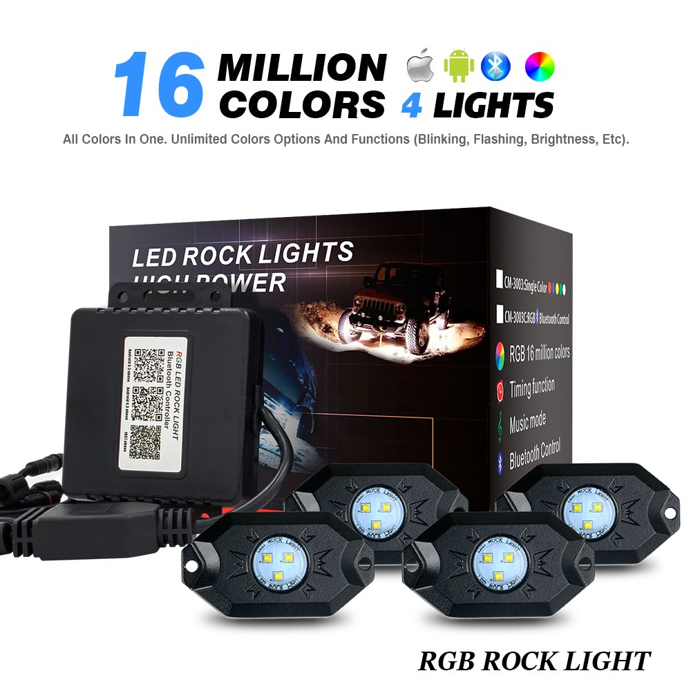 RGB LED Rock Lights with Bluetooth Controller, Timing Function, Music Mode - 2nd Gen 4 Pods Multicolor Neon LED Light Kit WEISIJI