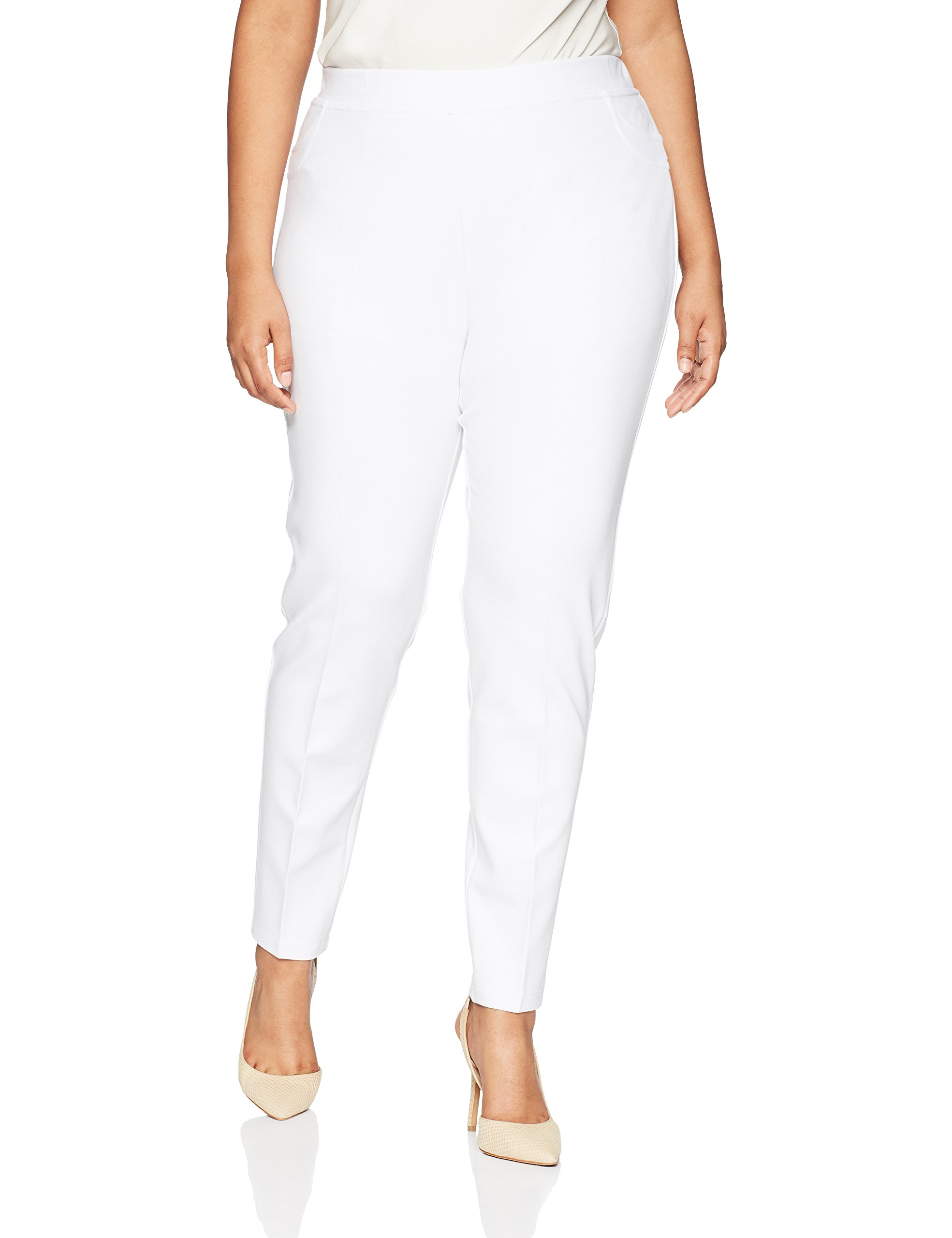 SLIM-SATION Women's Plus Size Ponte Legging With Tummy Panel and Back Pockets, White, 2X