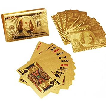 BERRY Gold Plated Card 100 Dollar -Gold 24K Gold Plated Standard Sized Playing Cards, Full Set of 52 Cards(Pack of 1)