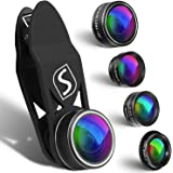 5 in 1 Mobile Phone Camera Lens Kit - Universal Set For iPhone, Samsung, Most Mobile Phones & Tablets - 2X Zoom Telephoto, 198° Fisheye, 0.63X Wide Angle, 15X Macro & CPL Filter Lens For Cell Phones