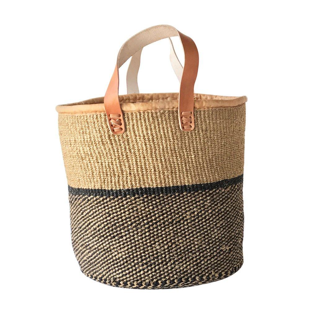 Kiondo Basket - Natural and Black Thick Stripe | Large - Shopper, Storage, Decor