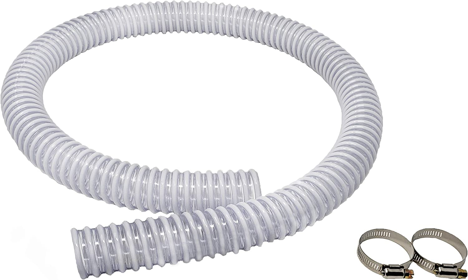 Sealproof 1.25 x 59 Inch Pool Filter Pump Connection Hose for 1-1/4 (32mm) Intex Systems and Above Ground Pools, Premium Quality Kinkproof PVC, Made in USA | Includes 2 Hose Clamps