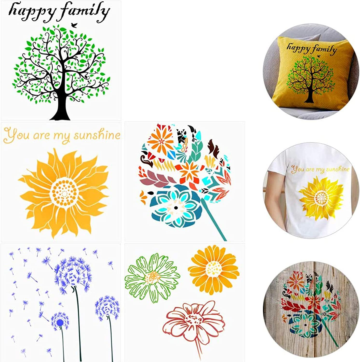 5Pcs (12×12Inch) Flower Tree Stencil Template for Painting, Walls Furniture Stencils for Drawing,Include Sunflower, Life Tree, Dandelion,Tropical Leave and Daisies