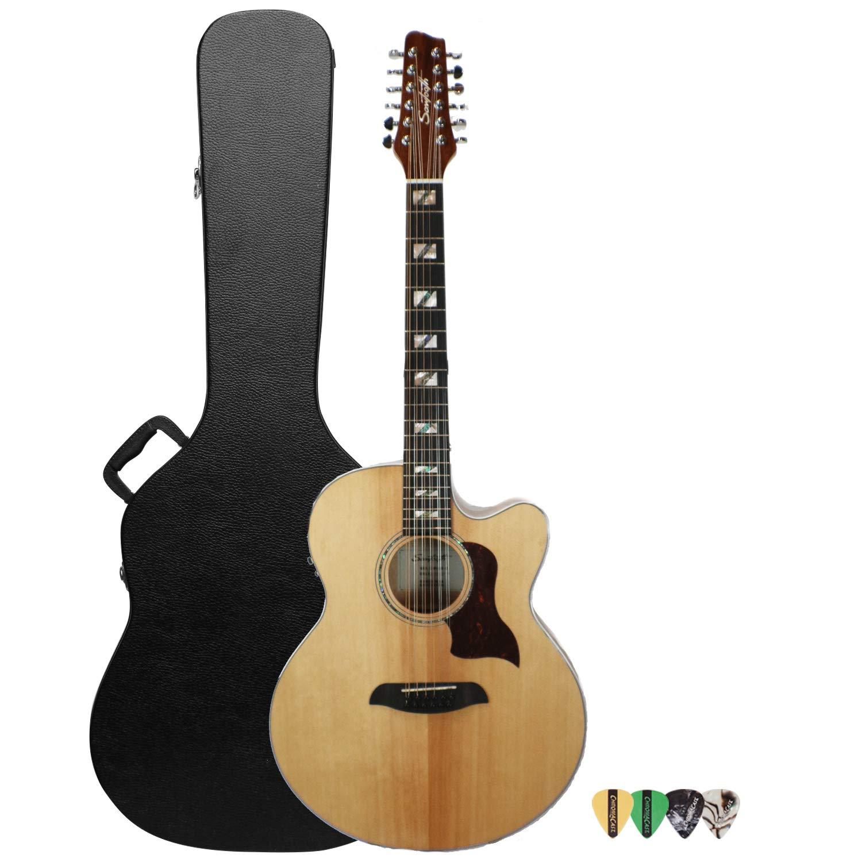 Diente de Sierra Solid Spruce Top Jumbo guitarra acústica con cutaway guitarra eléctrica con fuego de arce parte trasera y los lados, ...