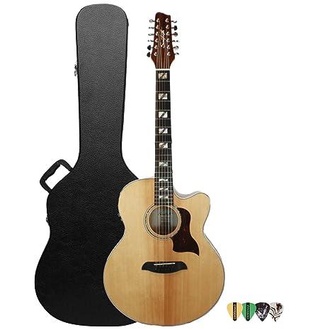Diente de Sierra Solid Spruce Top Jumbo guitarra acústica con cutaway guitarra eléctrica con fuego de