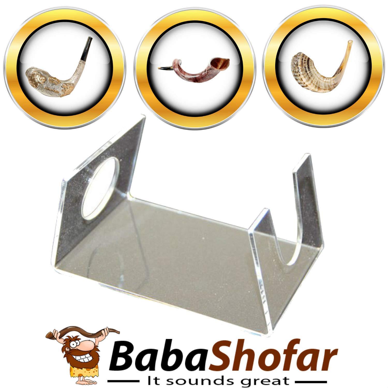 Babashofar Shofar Stand Acrylic Holder for any kind of Shofars like Ram, Yemenite, Silver, Anointing, Natural Kudu Shofars Horn fits Sizes 9