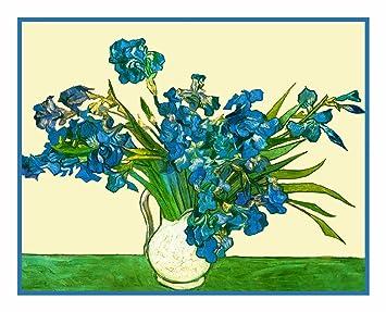 Jarrón de diseño de lirios de Vincent van Gogh de punto de patrón de punto de