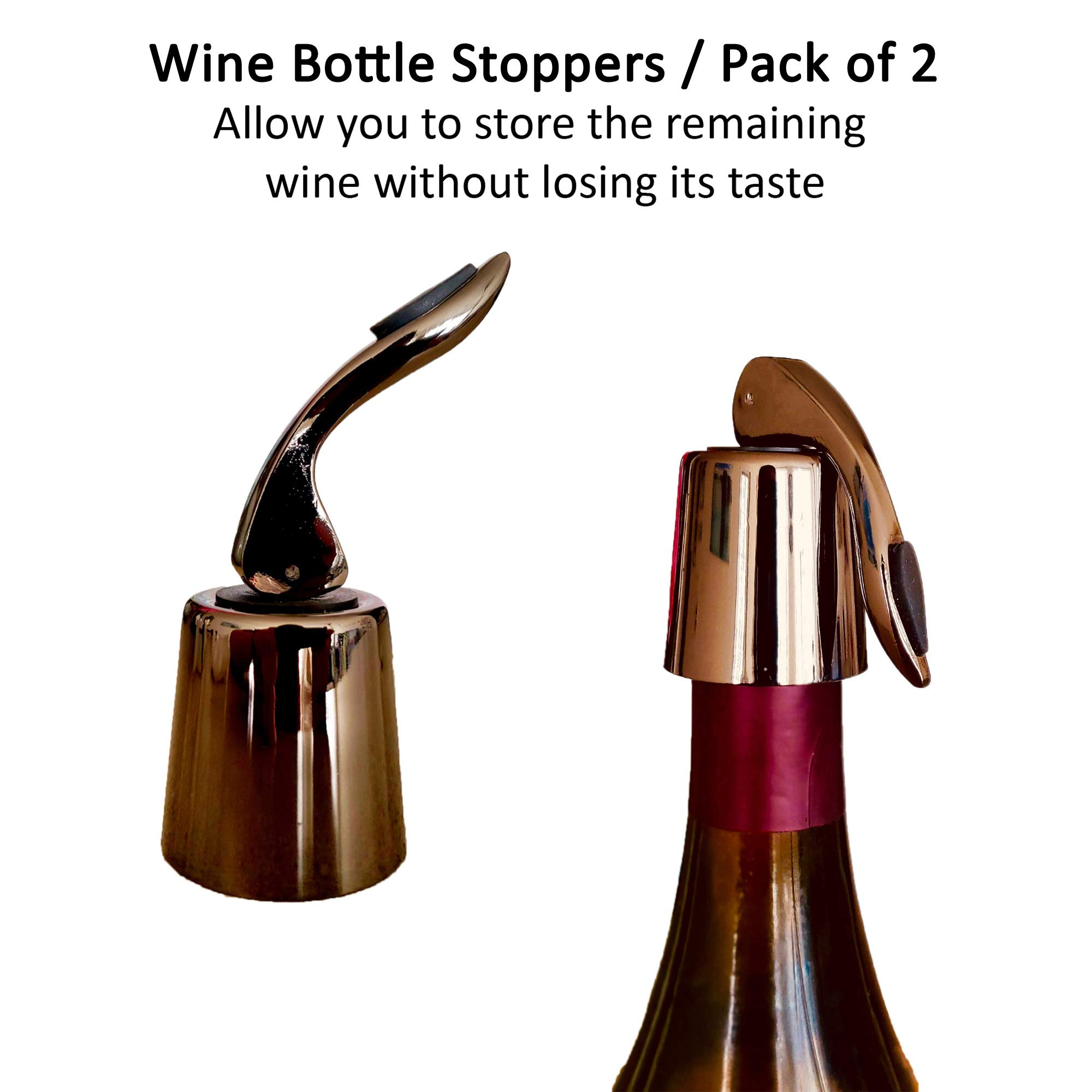 VNSG Deluxe Wine Set⎮Wine Accessories⎮Set of 5 pieces (Foil Cutter, Wine Bottle Opener/Corkscrew, Wine Aerator, 2 Bottle Stoppers/Wine Preserver)⎮Wine Gift Set⎮House Warming Presents⎮Wine Opener Set