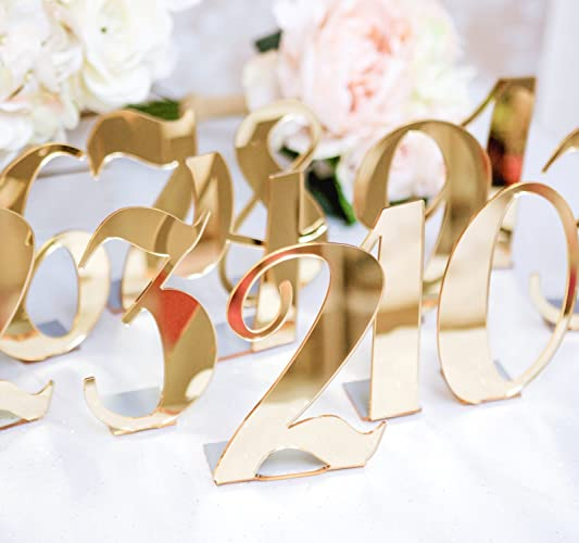 Amazon wedding table numbers for weddings party and event wedding table numbers for weddings party and event centerpiece decor standing numbers in gold junglespirit Gallery