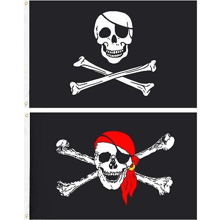 2 Piezas de Bandera de Pirata Bandera de Cráneo de Jolly Roger Bandera de Decoración de Halloween para Decoraciones y Regalos de Fiesta de Pirata ...