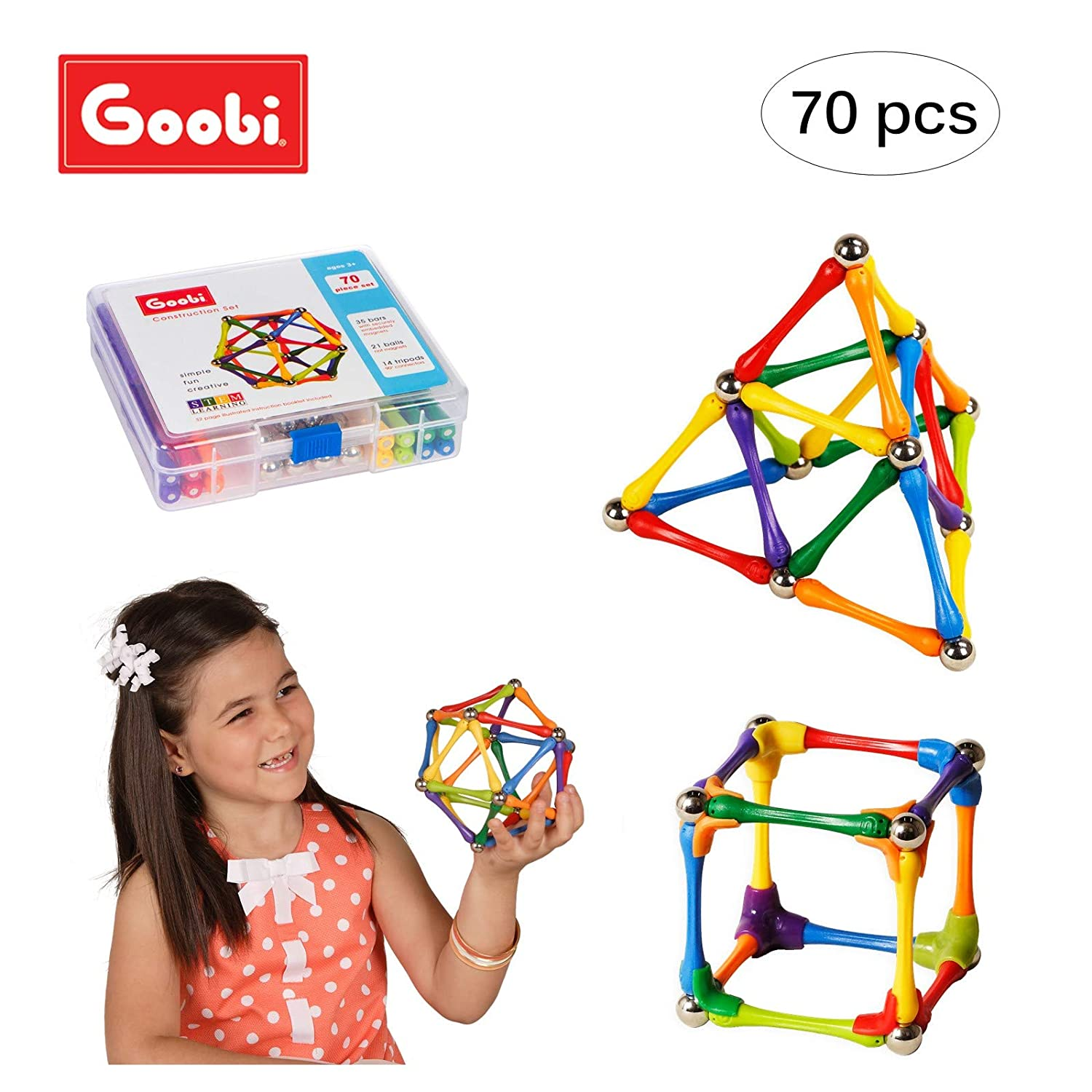 Goobi 70 Piece Construction Set with Instruction Booklet | STEM Learning | Assorted Rainbow colors