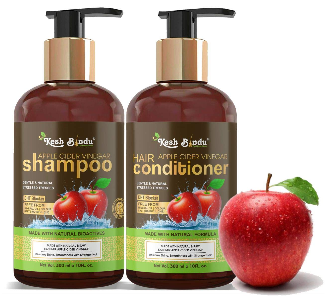 KESHBINDU Apple Cider Vinegar Shampoo and Hair Conditioner Set Increase Gloss, Hydration, Shine, Reduce Itchy Scalp, Dandruff & Frizz, No Parabens or Sulfates, All Hair Types 2 x 10 Fl Oz 300mL (Apple Cider Vinegar Shampoo+Conditioner, 10 Fl Oz 300mL)