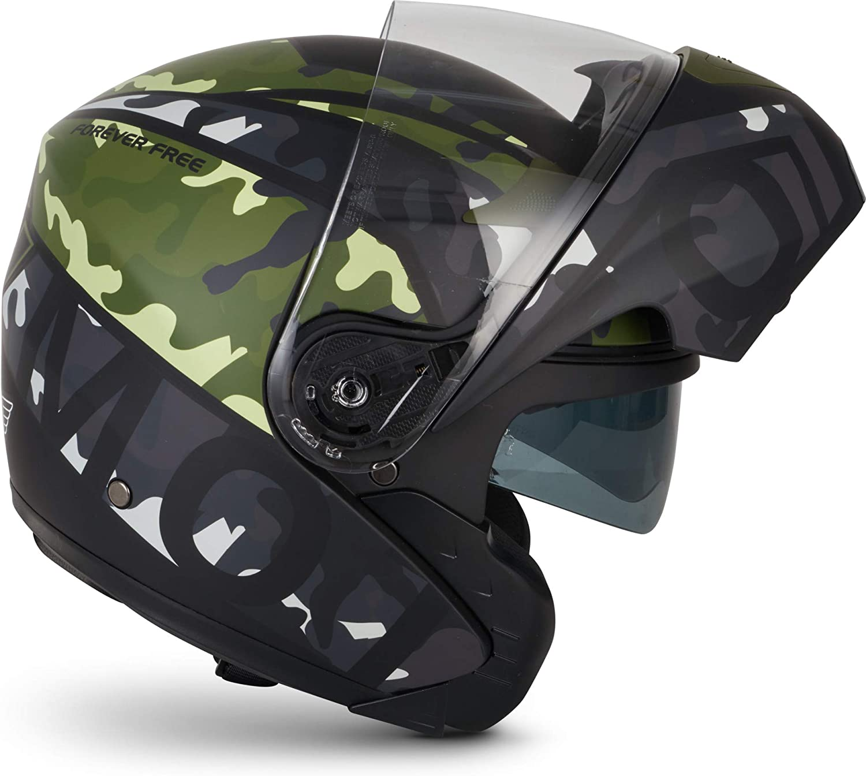 Moto Helmets F19 Runner Camo Motorrad Helm Klapp Helm Modular Helm Flip Up Integral Helm Motorrad Helm Roller Helm Sport Ece 22 05 Sonnenvisier Schnellverschluss Tasche L 59 60cm Auto