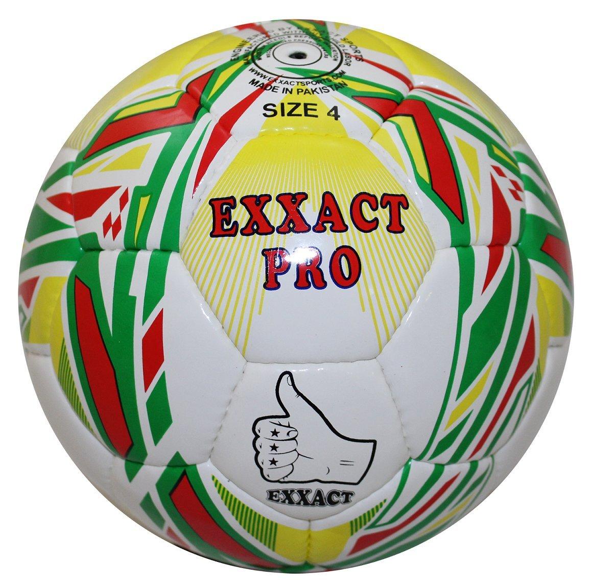 Exxact Pro Hand Stitchサッカートレーニングボール – グリーン&イエロー B077S58C3VSize 4