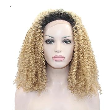 SHKY Dark Roots Ombre marrón sintético encaje frontal peluca Bob corto rizado pegamento a prueba de