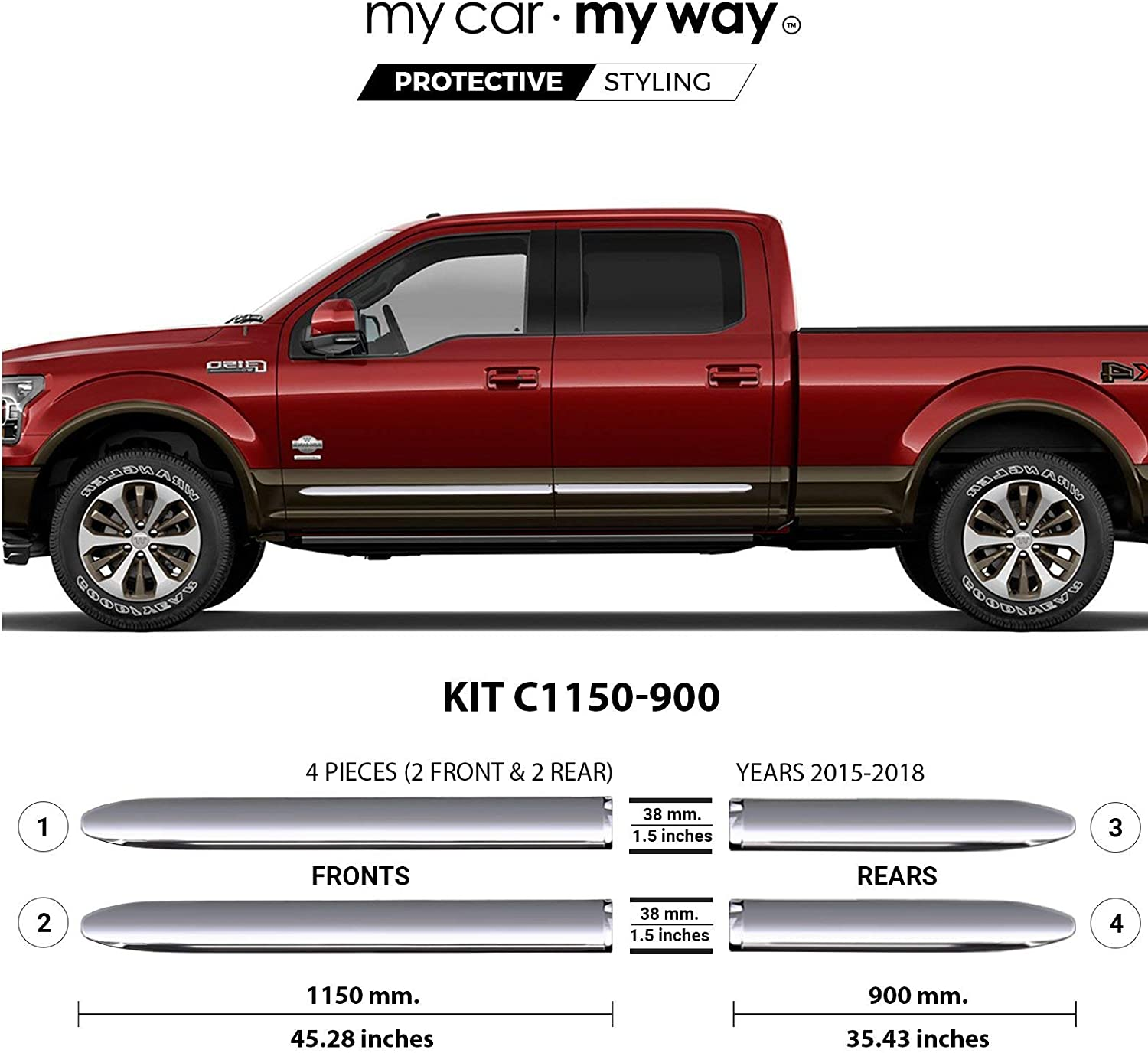 Fits MY CAR MY WAY Chrome Body Side Molding Cover Trim Door Protector Ford F-150 6.5 Box Supercrew 2015 2016 2017 2018