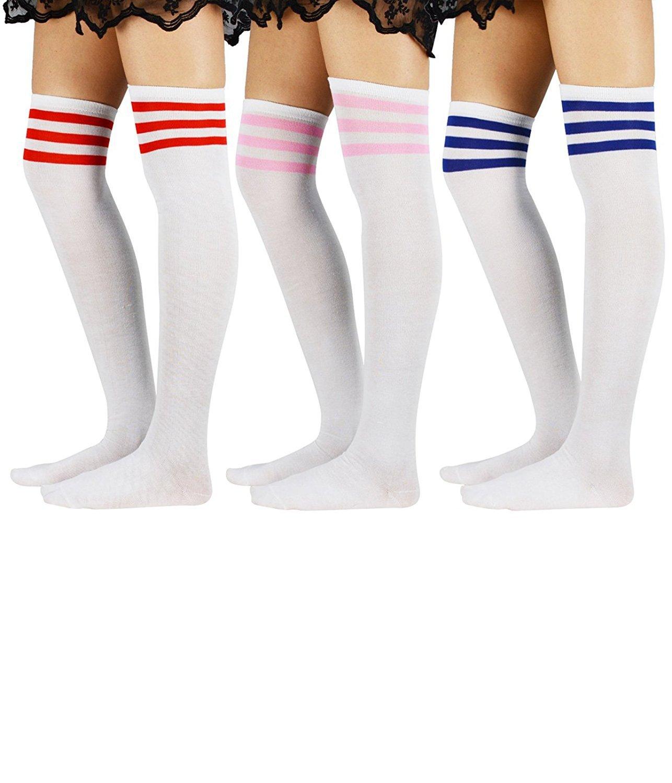 Over Knee Thigh Socks High Stockings Knitted Women Stripe Tube Sock Cosplay