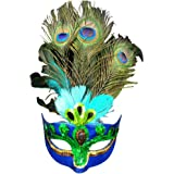 Eizur Masquerade Mask with Peacock Feathers and Sequins Blue for Halloween Party Christmas Fancy Dress Cosplay Costume Props Carnival Prom Ball
