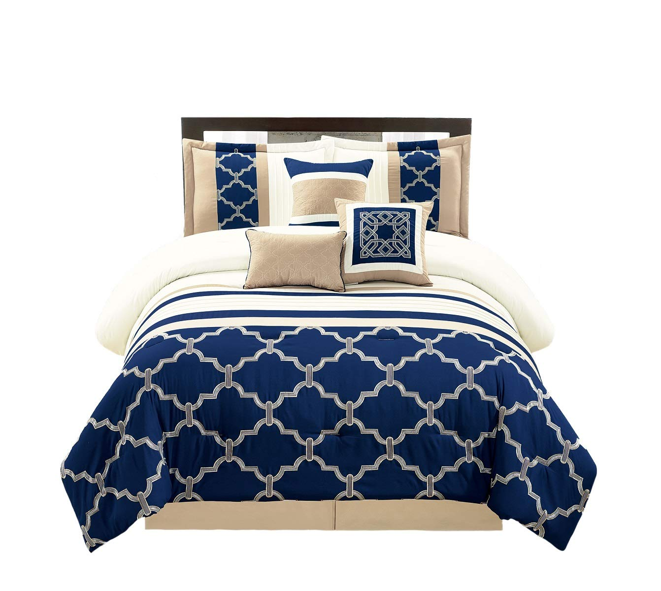 WPM 7 Pieces Complete Bedding Ensemble Navy Blue Taupe Ivory Beige Royal Print Luxury Embroidery Comforter Set Bed-in-a-Bag Queen Size Bedding-Daisy