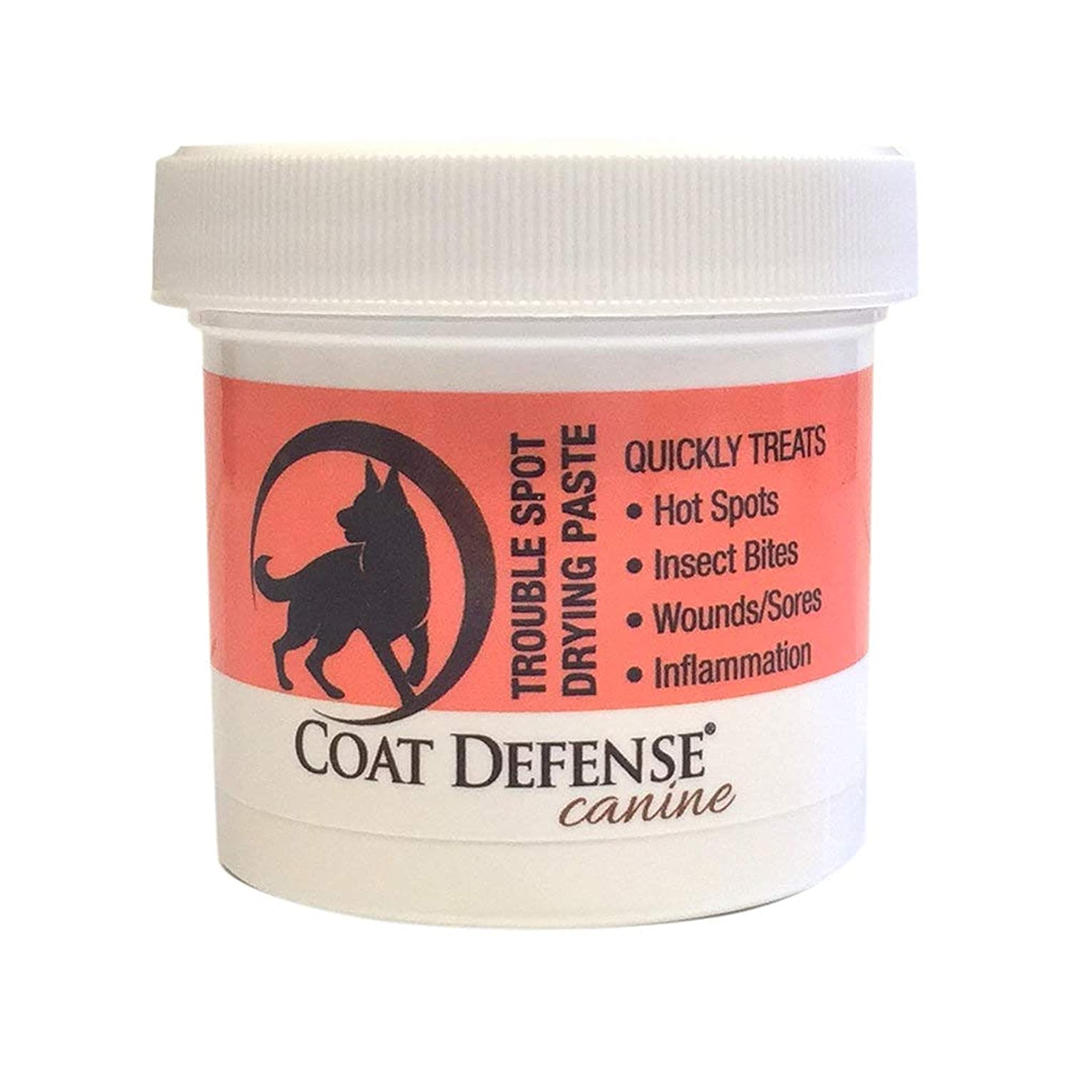 Coat Defense Trouble Spot Drying Paste For Dogs | Naturally Anti Fungal Anti Bacterial Treats Hot Spots, Itchy Skin, Skin Allergies, Dermatitis Inflammation, Insect Bites, Wounds, Sores | Made In USA