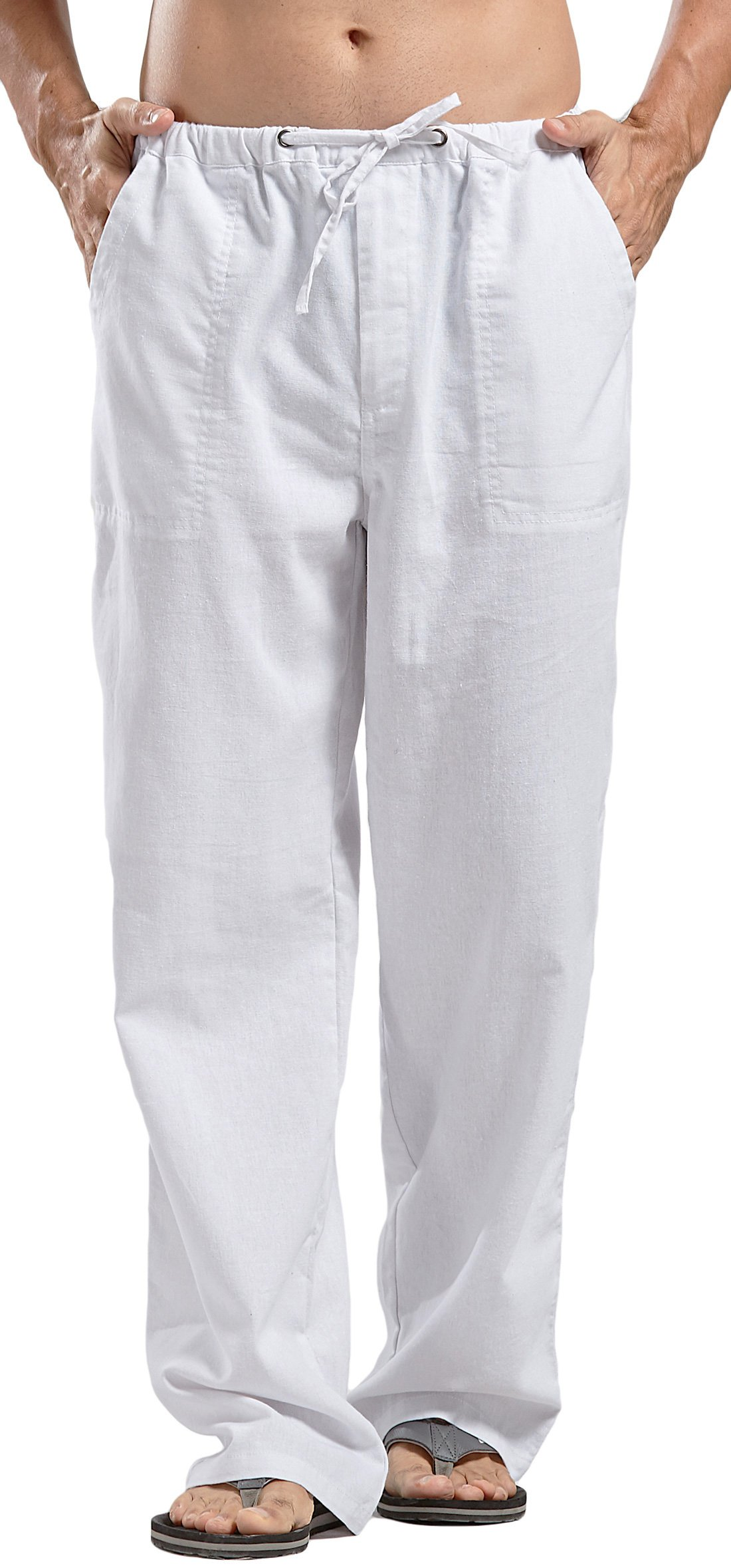utcoco Qiuse Men's Casual Loose Fit Straight-Legs Stretchy Waist Beach Pants (X-Large, White)