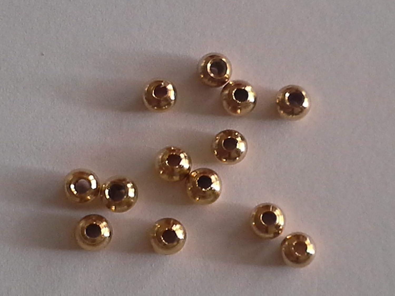 Fliegenbinden Kopfperlen goldfarben 2,0mm, 50Stü ck