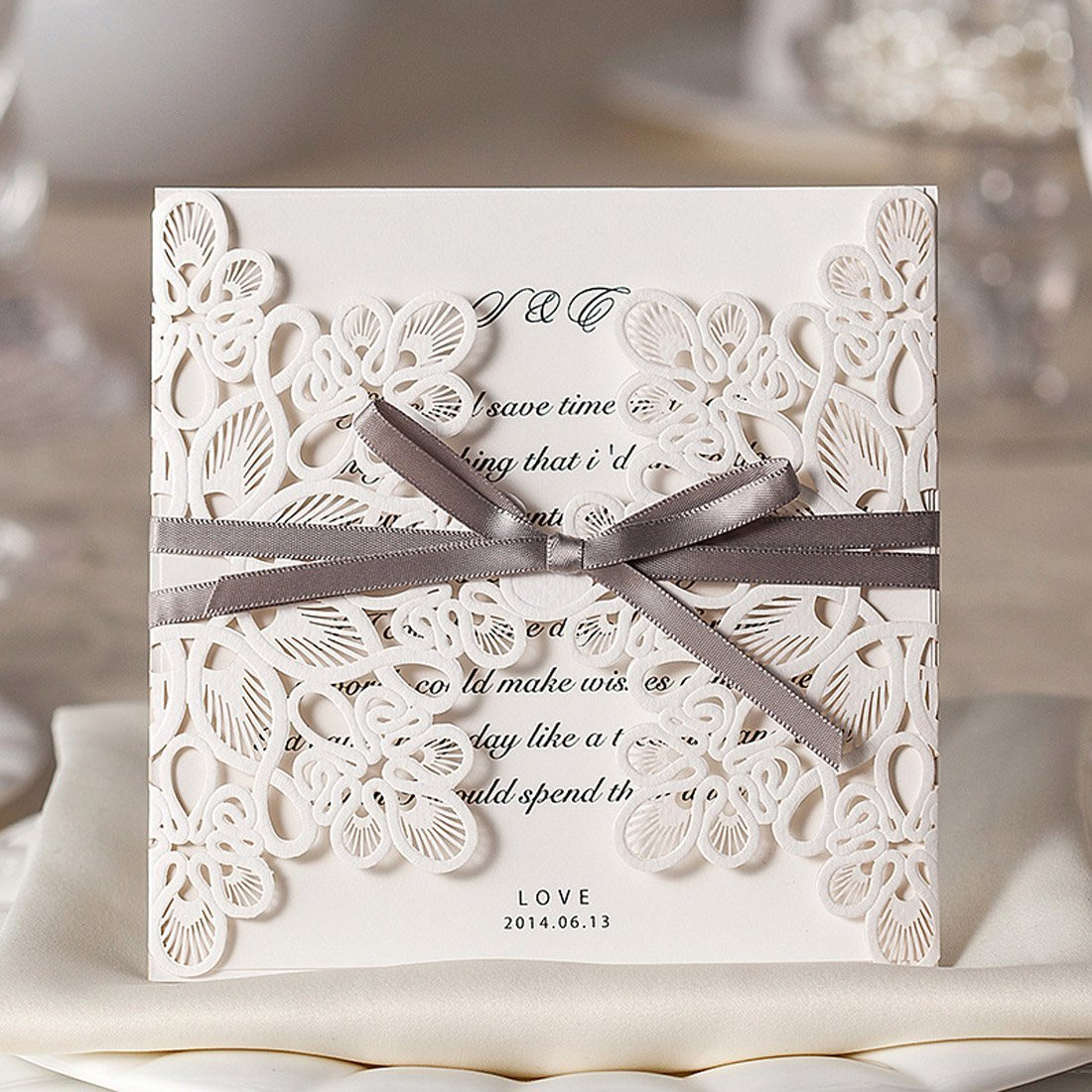 Wishmade 50x Square Laser Cut Wedding Invitations Cards Kits With