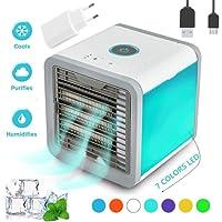 Climatiseur Portable - Rafraichisseur d'air & Ventilateur - 3 EN 1 Mini Climatiseur Humidificateur Purificateur 7 LED Couleurs pour Maison/Bureau/Camping Puissance 10 Watts (Blanc)