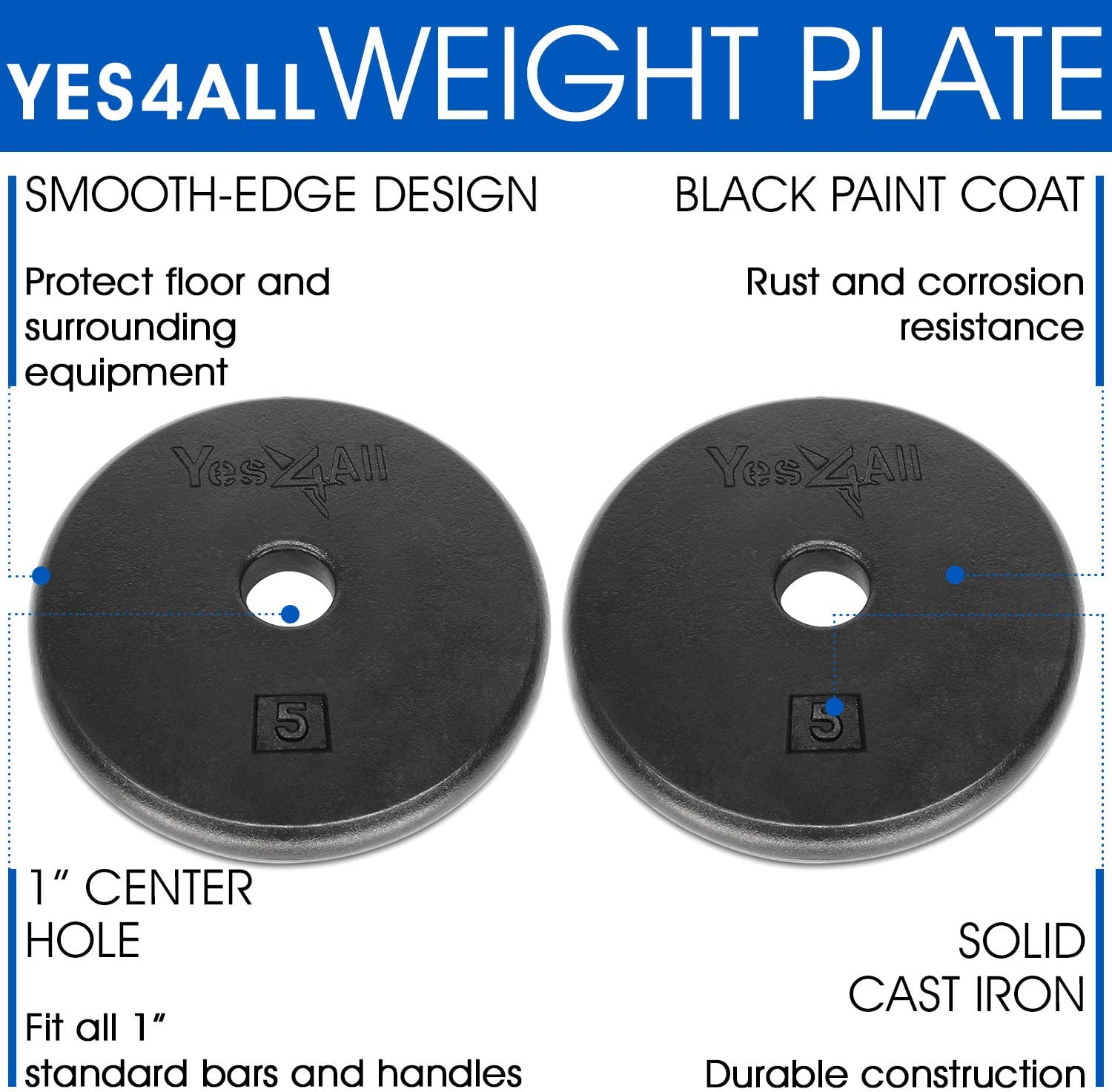 25 lbs 20 Single /& Pair 7.5 10 Yes4All Standard 1-inch Cast Iron Weight Plates 5 15