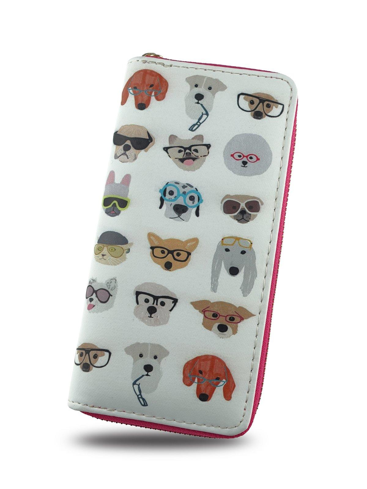 Cartoon Girl Wallet,Credit Card Holder with Zipper For Women,Print Animal,Dog & Cat