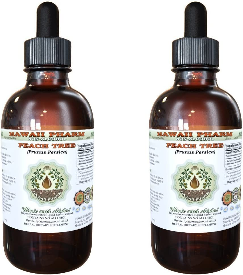 Peach Leaf Alcohol-FREE Liquid Extract, Peach Leaf Prunus persica Dried Leaf Glycerite Natural Herbal Supplement, Hawaii Pharm, USA 2×2 fl.oz