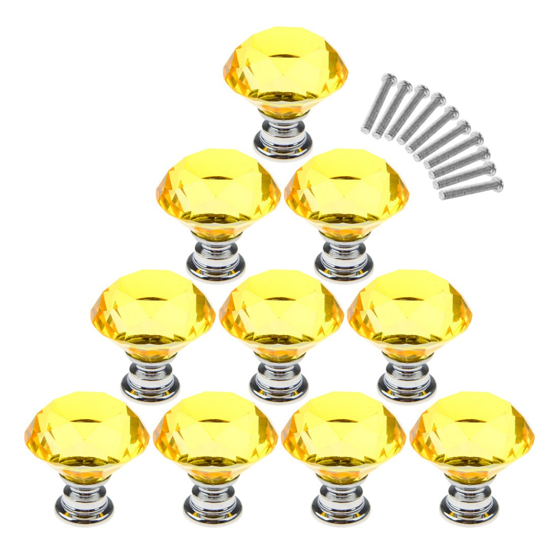 Cabinet Knobs,YIFAN 10Pcs 30mm Crystal Glass Diamond Shape Cabinet Knobs Cupboard Drawer Pull Handles - Yellow