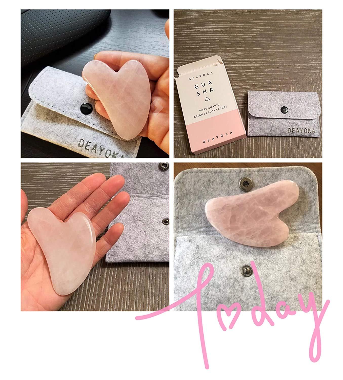 DEAYOKA Rose Quartz Guasha Tool - Asian Beauty Secret, For Facial Microcirculation/Removes Toxins/Prevents Wrinkles/Boost Radiance of Complexion - 100% Authentic & Genuine Rose Quartz: Beauty