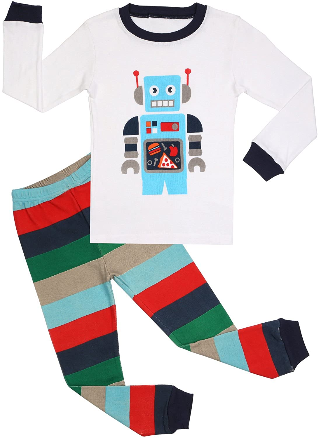 BOOPH Boys Pajamas 2 Piece Truck Long Sleeve Pajama Set 100% Cotton Size2T-7T