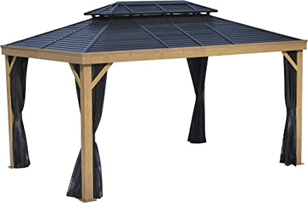 WeYard Hardtop Gazebo for Patios, 5+ Years Long Lasting, Positano 10'x14', Wood Print Looks, Alum-Frame & Steel-Structure Pergola, Outdoor Relax/Grill/BBQ Tent, with All-Sides Nettings, Curtains