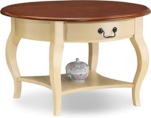 Leick French Countryside Round Storage Coffee Table – Ivory