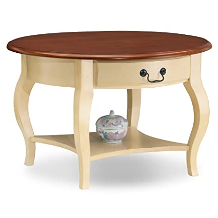 Leick French Countryside Round Storage Coffee Table   Ivory