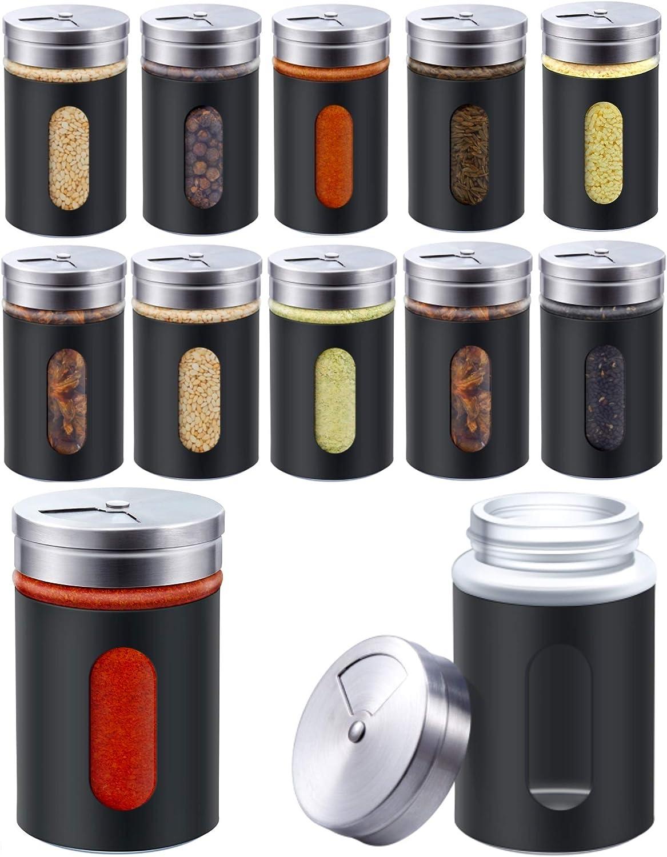 Aneco 189,9 g Contenitori trasparenti per spezie con coperchio regolabile per versare o shaker