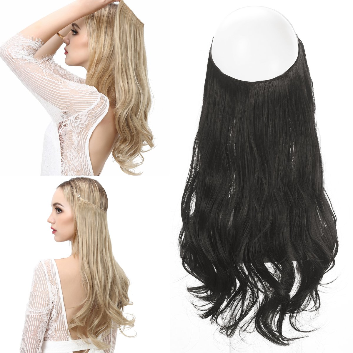 Amazon Secret Halo Hair Extensions Flip In Curly Wavy Hair