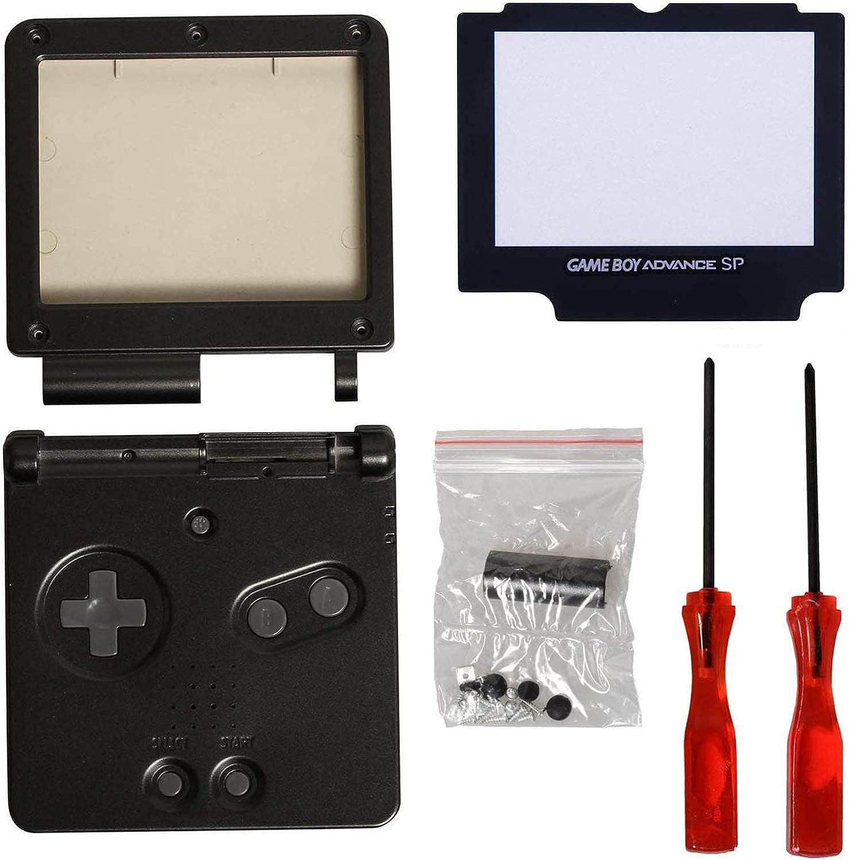 Timorn Shell Caso Completo de la Cubierta Cover + Protector de la Pantalla Parte + Tri-ala reparación + Cruz Destornillador para Gameboy Advance GBA (Paquete Negro)