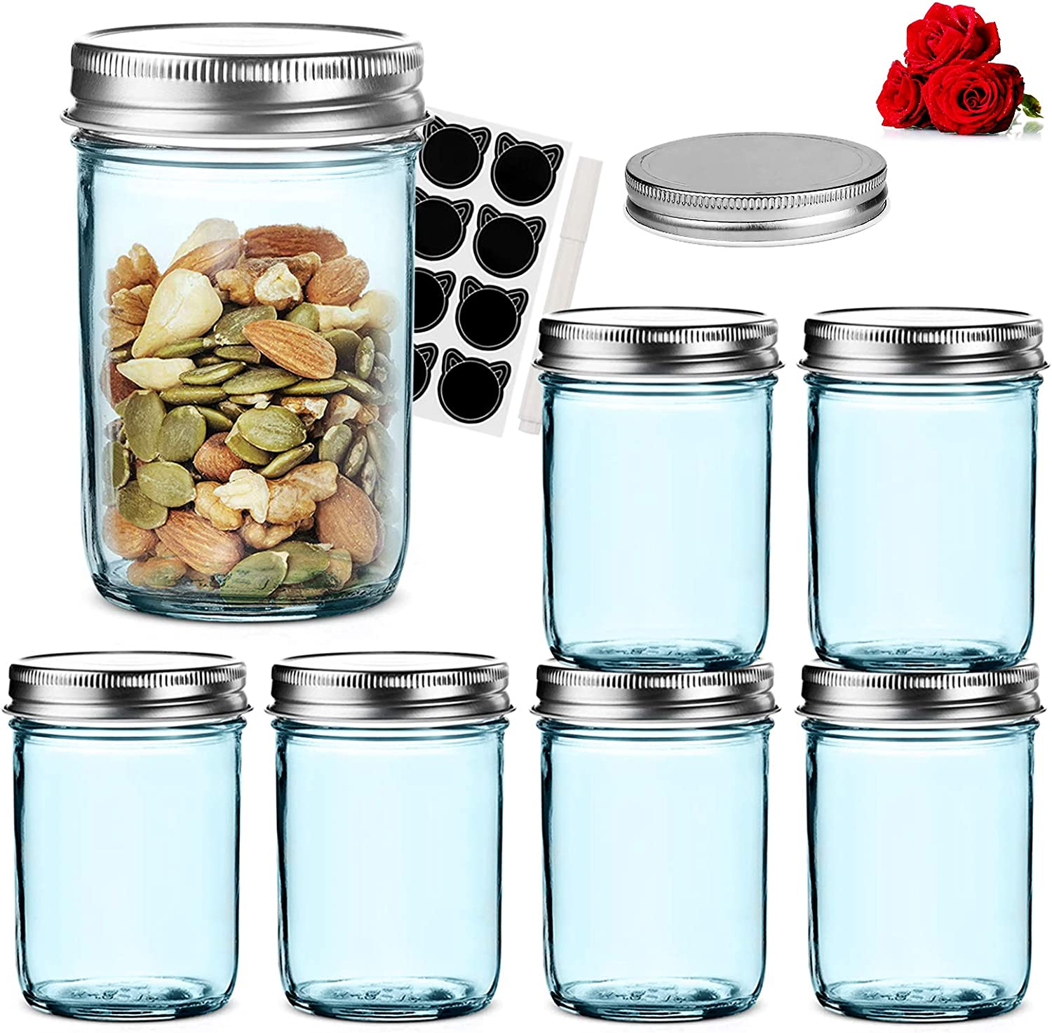 LovoIn 6 Pack 8 oz Regular Mouth Glass Jars with Silver Metal Airtight Lids, Fashioned Mason Jars for Baby Foods, Jams, Jellies, Fruit Syrups, Body Milk, Pizza Sauce - Blue